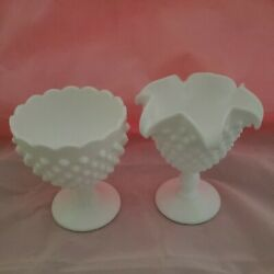 Vintage 5.5 Hobnail Milk Glass Footed Compote Candy Dishes Free Ship