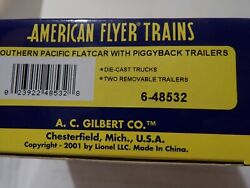 American Flyer Mint 6-48532 Southern Pacific Flatcar With Two Removeable