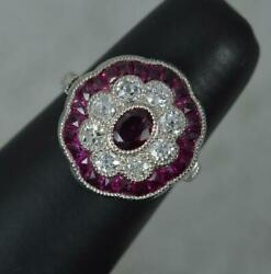 Antique Design Ruby And Old Cut Diamond 18ct White Gold Cluster Ring