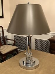 Jay Spectre For Paul Hanson Usa 1970s Chrome And Lucite Modern Table Lamp