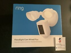 Ring Floodlight Camera Motion-activated Hd Security Cam Wired Plus White 2021