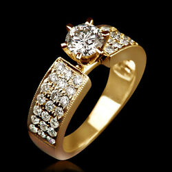 1.6 Carat Authentic Accented Diamond 18k Yellow Solid Gold Engagement Ring Nib