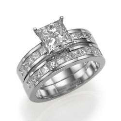 Authentic 2.3 Ct Princess Accents Diamond 18k White Gold Proposal Ring Band Set