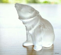 Gorgeous Lalique Clear Ourson Bear Cub Sitting Nouria Signed