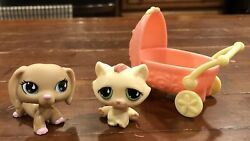 Authentic Littlest Pet Shop Lps Dachshund 909, Cat 914 And Stroller Accessory