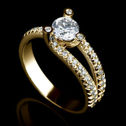 2 Ct Certified Round Cut W Accents Diamond 18k Yellow Gold Engagement Ring Nwt