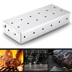 Stainless Steel Smoker Box With Lid Charcoal Flavour Wood Chips Grill Bbq