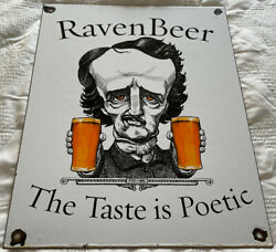 Vintage Raven Beer Company Porcelain Sign Bar Brewery Ipa Gas Oil Poetic Poetry