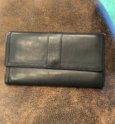 Coach Vintage Wallet Black Leather Snap Trifold Checkbook Long Clutch $48.00
