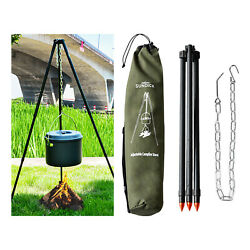 Grill Camping Tripod Portable Cooking W/hang Chain Barbecue Accessories