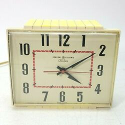 Vintage General Electric Telechron Yellow Clock Wall Or Table Model 2h103s