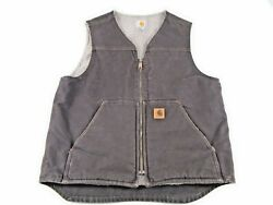 Menand039s Duck Canvas Fleece Lined Vest Size Menand039s Medium Free Shipping