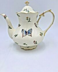 Porcelain Burton And Burton Butterfly And Dragonfly Teapot Trimmed In Gold 32 Fl Oz