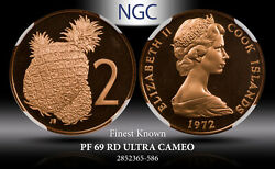 1972 Cook Islands 2 Cents Ngc Pf 69rd Ultra Cameo Finest Known Worldwide