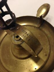 Antique Brass Chamberstick Candle Holder 19c Pat. Marked Aug 16th 1887/rare