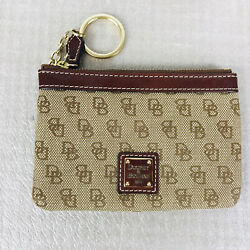 DOONEY AND BOURKE SIGNATURE CANVAS LEATHER TRIM KEY CHAIN COINS CLUTCH Brown $19.99