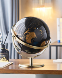 World Map Rotating Earth Globe Geography Educational Home Desk Decorating Toy