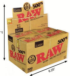Raw 500's Classic Natural Unrefined Rolling Paper 1 1/4 79mm Size 20
