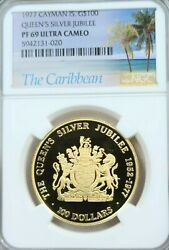 1977 Cayman Is Gold 100 Dollars Silver Jubilee Ngc Pf 69 Ultra Cameo Top Pop