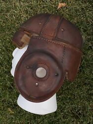 Spalding Old Antique And Rare Vintage Dog Ear 1920's All Leather Football Helmet