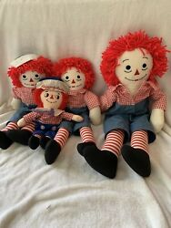 """Raggedy Anne And Andy Doll Lot Of 4, Vintage 23"""" 18"""" 13"""" Inches Tall"""