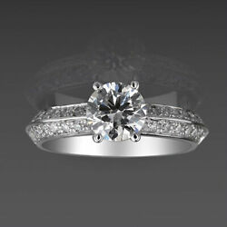 Diamond Solitaire Accented Ring Round 1.42 Carat Si2 18 Kt White Gold 4 Prongs