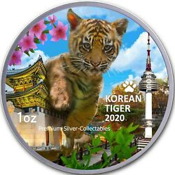2020 South Korea Tiger - 1 Ounce Pure Silver And Colorized