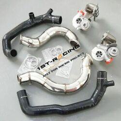 16t Twin Turbos+2'' Turbo Inlets +3'' Exhaust Downpipes For Bmw 135i 335i 3.0l