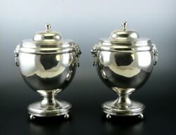 Fab Pair Sheffield Old Fused Silverplate Chestnut Urns W Lion Mask Handles