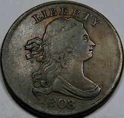 1808/7 Draped Bust Half Cent Nice Ef++..very Scarce To Rare Overdate, Nice Coin