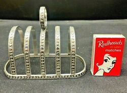 C1920's Art Deco Silver Plated 4 Slice Toast Rack Embossed Playing Card Suits.