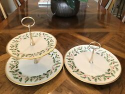 Lot Of 2 Vintage Lenox Holiday Christmas 1and2 Tiered Serving Tidbit Dessert Tray