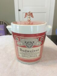 Vintage Plastic Budweiser Beer Ice Bucket Thermo Serve Insulated Gold Eagle