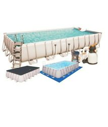 24ft Large Swimming Pool 56475 With Sand Filter Pump+25 Kg+led Light.uk Stock