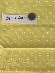 VTG Fabric Piece Yellow Daisy Flocked Yellow White 34quot; x 20quot; Craft Doll Quilt