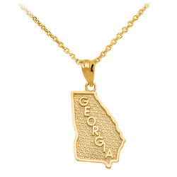 14k Solid Yellow Gold Georgia State Map United States Pendant Necklace