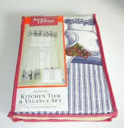 Better Homes And Gardens Blue Porcelain Kitchen Tier And Valance Set Nip
