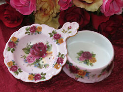 Old Country Roses Look Alike Porcelain Tea Strainer And Bowl 24kt Gold New And Rare