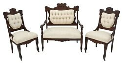 Antique Parlor Set, Victorian, Settee And 2 Chairs, American, Upholstered, 1900s
