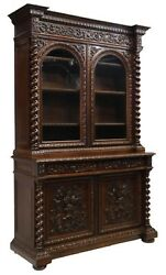 Antique Bookcase / Sideboard, Carved, French Henri Ii Style Carved Oak, 1800's
