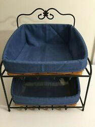 Longaberger Wrought Iron Paper Tray Stand 2 Tapered Baskets Cornflower Blue