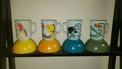 8 Rare Fire King Anchor Hocking Exotic Birds Milk Glass Mugs And Bowls