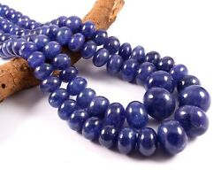 Aaa+ Natural Blue Tanzanite Gemstone Smooth Rondelle Stone Beads 20 Necklace