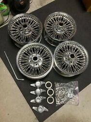 Dayton Wire Wheels 14x6 4x100 Stainless Steel With Lug Nuts.
