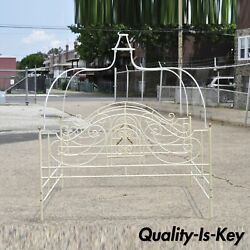 Vintage Wrought Iron Victorian Brass Finial King Size Scrolling Canopy Bed Frame