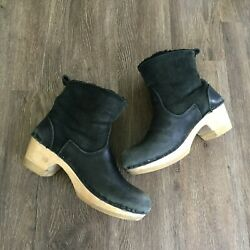 No.6 Womens Shearling Clog Ankle Boots Pull On Black Leather Size 39 Wood Base