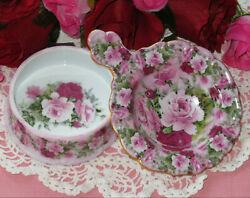 Chintz Summer Roses Pink Porcelain Tea Strainer And Bowl 24kt Gold Trim Rare And New