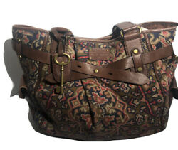 Fossil Cotton Canvas Hobo Multicolor and Brown Aztec Print Purse $25.00