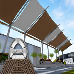 Brown 37 Ft Heavy Duty Steel Wire Cable Sun Shade Sail Canopy Patio Pool
