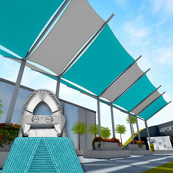 Turquoise 37 Ft Heavy Duty Steel Wire Cable Sun Shade Sail Canopy Patio Pool